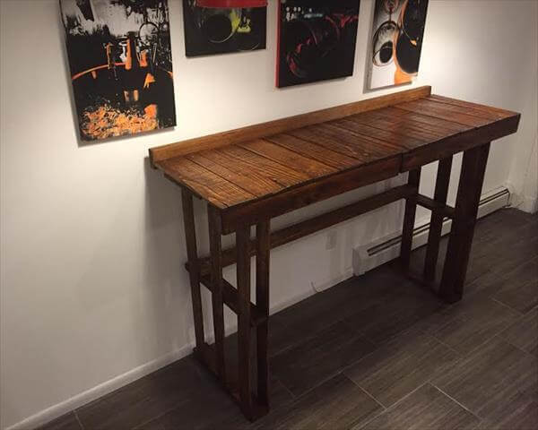 wooden pallet table with extra counter space