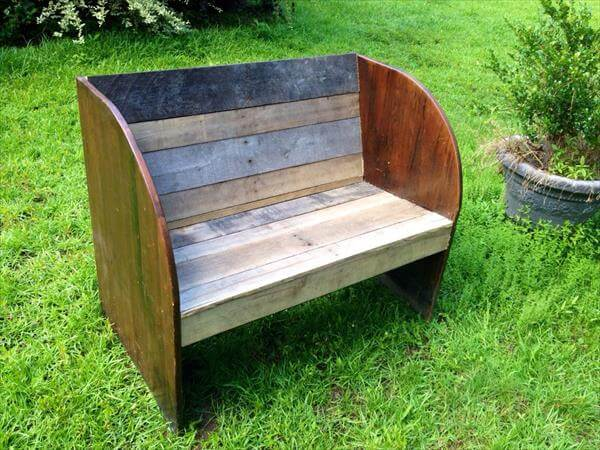 rustic yet modern pallet and old wood bench