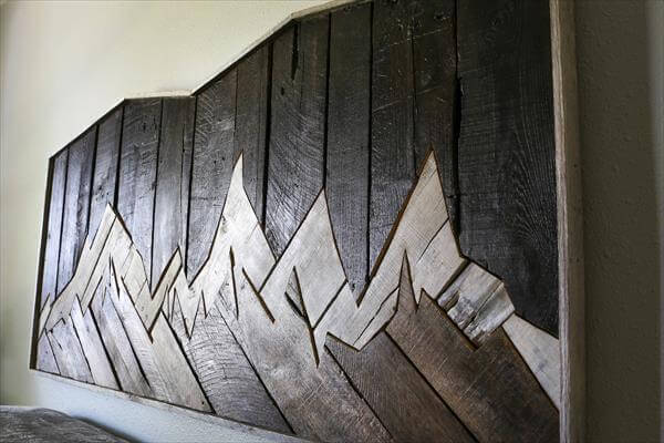 recycled pallet accent headboard inspired of mountain range