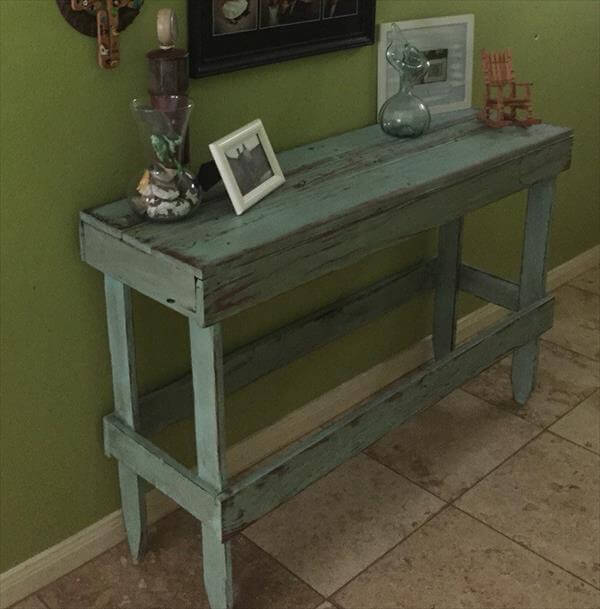 Foyer Chair Bench : Diy pallet distressed entryway table furniture