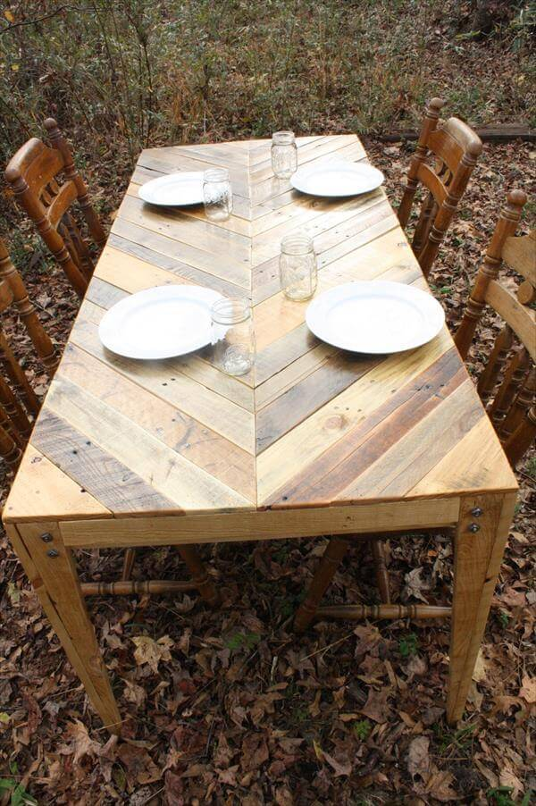 Herringbone Style Pallet Dining Table Pallet Furniture Diy