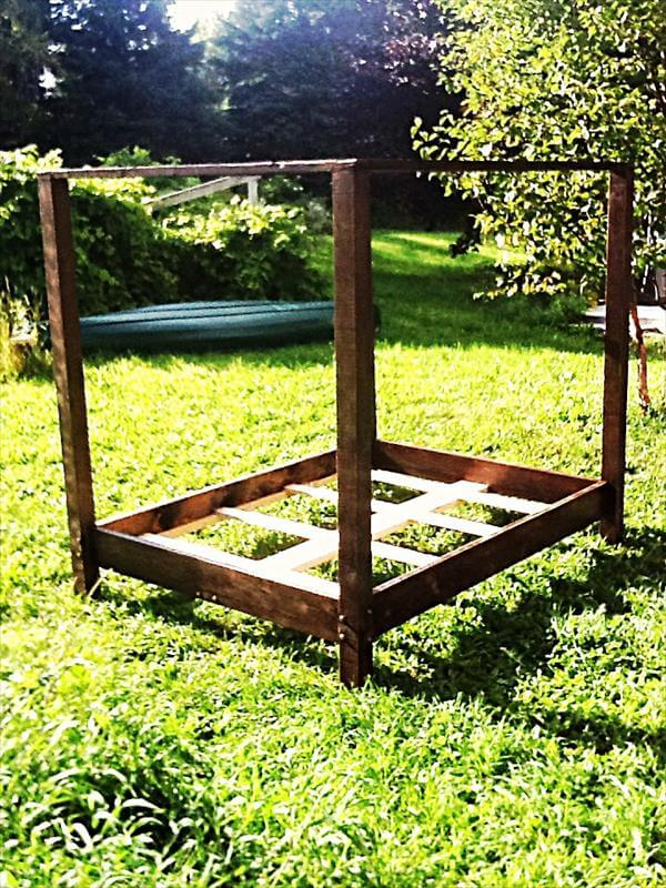 recycled pallet canopy bed frame