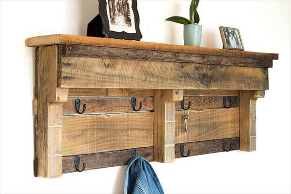 rustic pallet coat rack with hooks