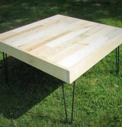 diy pallet coffee table with metal hairpin legs
