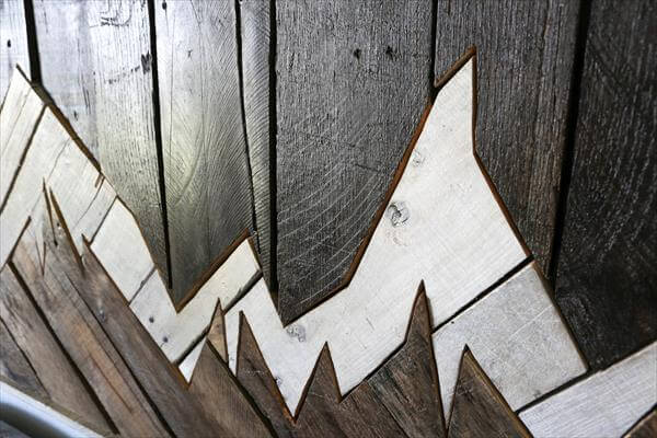 diy pallet headboard with inspired of mountain range