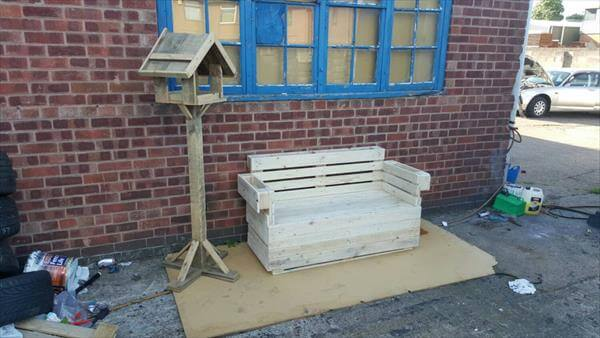 upcycled pallet 2 seater patio bench