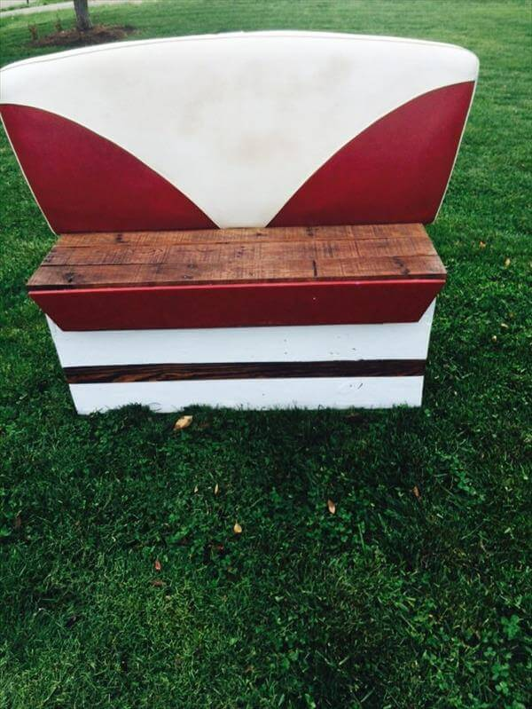 reclaimed boat seat and pallet bench
