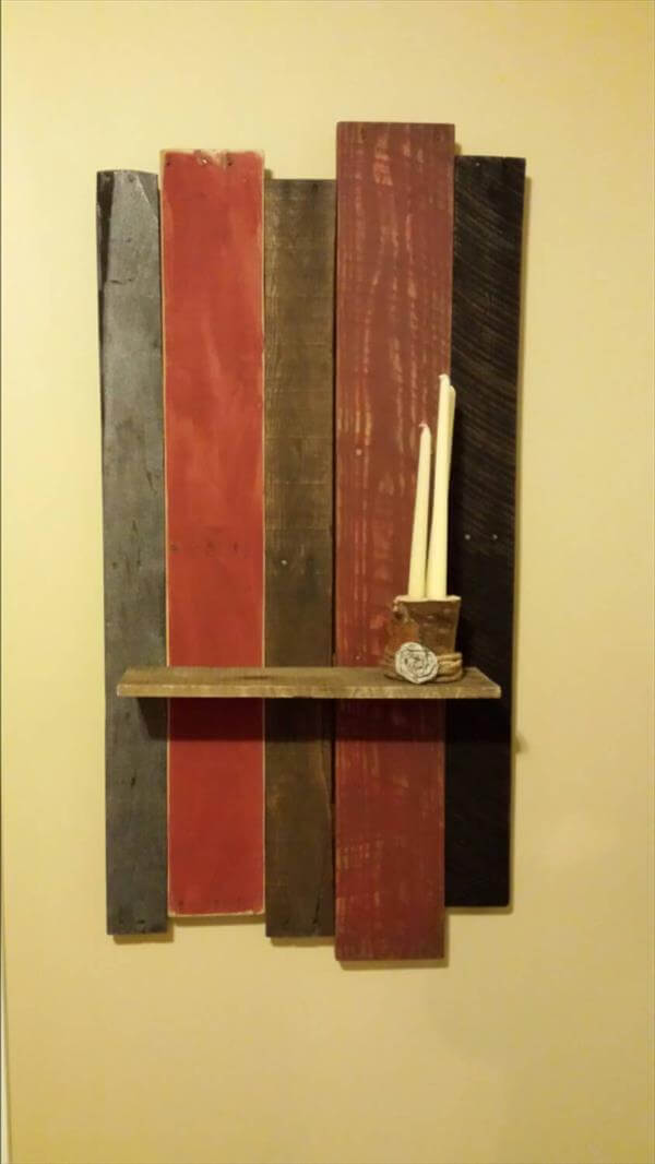 recycled pallet accent wall shelf