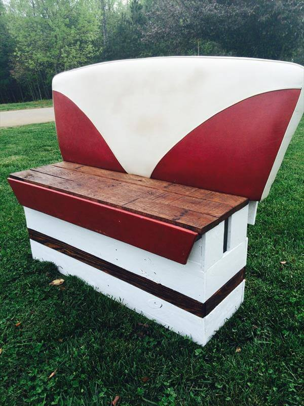 upcycled pallet and reclaimed old boat seat bench