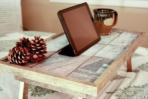 wooden pallet breakfast bed tray