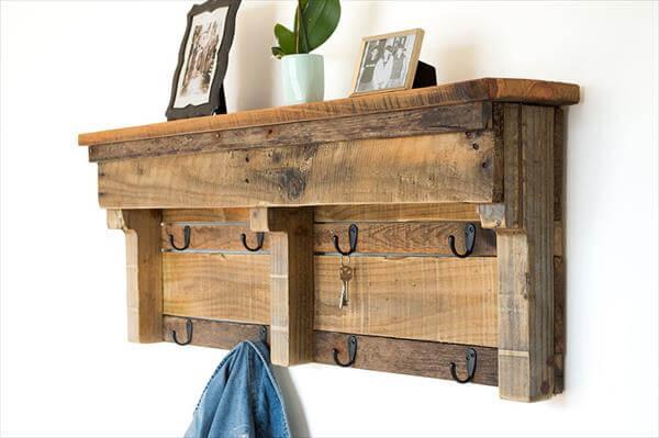 wooden pallet coat rack with shelf