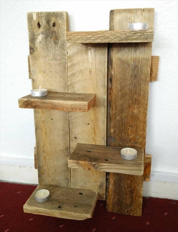 diy pallet rustic floating shelves