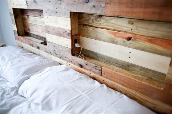 Pallet headboard with lighting pallet furniture diy for Diy pallet headboard king