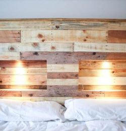 pallet headboard with mobile phone charging outlets and touch lighting