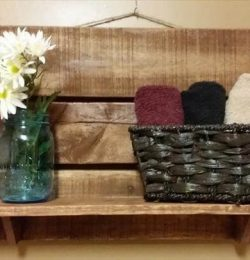 recycled pallet kitchen or bathroom shelf
