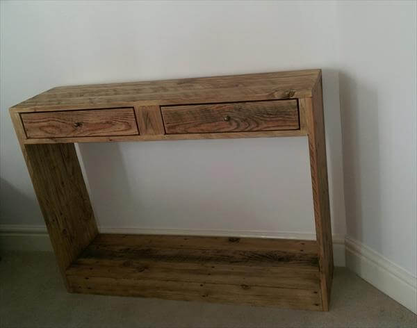 wooden pallet occasional console table