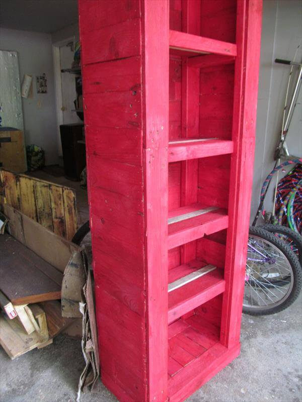 recycled pallet red kitchen cabinet