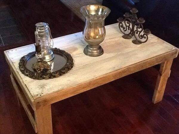 recycled pallet primitive coffee table