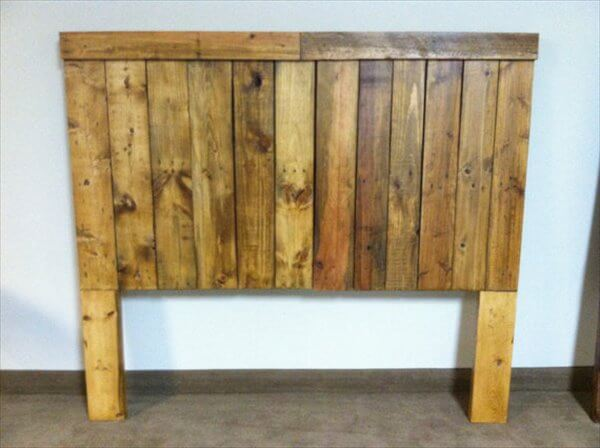 Recycled pallet queen size headboard
