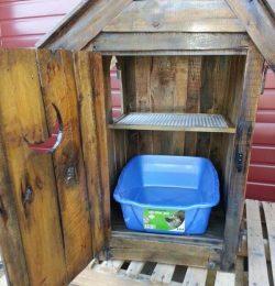wooden pallet cat litter cabinet