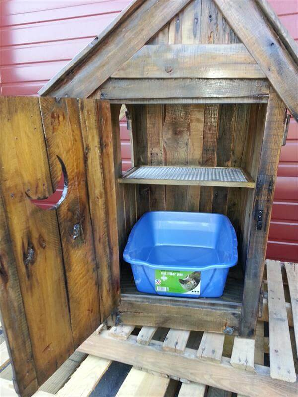 wooden pallet cat litter cabinet