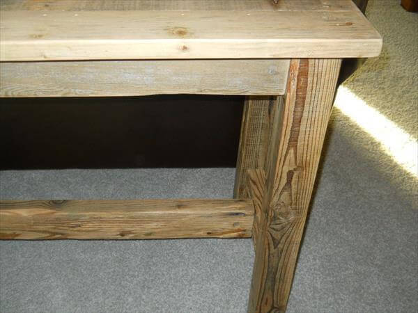 upcycled pallet behind sofa table