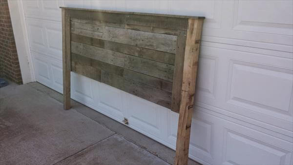 king size headboard salvaged from pallets