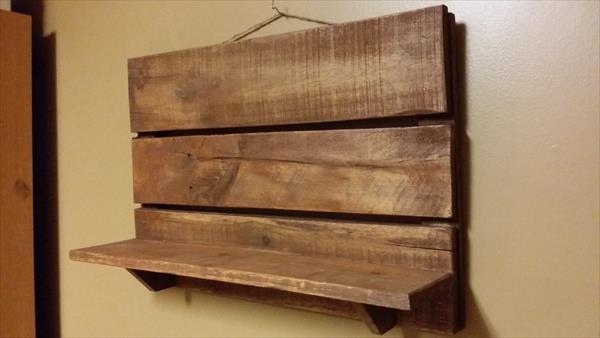 upcycled pallet rustic wall shelf