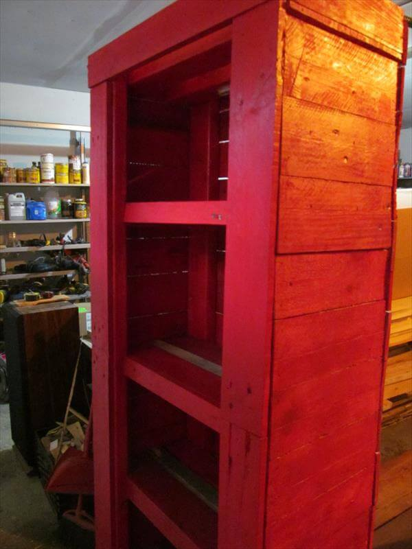upcycled pallet red cabinet