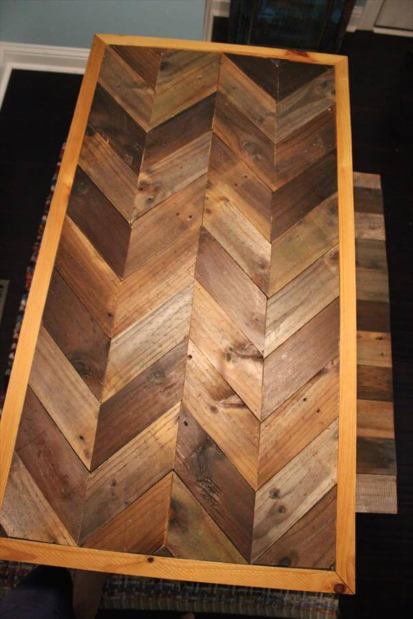 Pallet Chevron Table And A Bench Pallet Furniture Diy