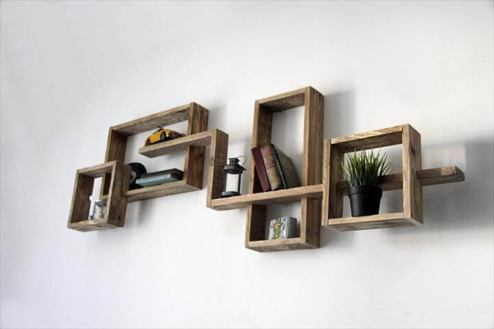 Creative pallet wall shelf pallet furniture diy - Etagere mural design ...