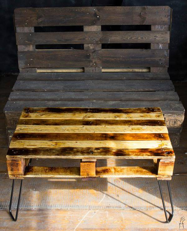 Pallet Recycled Coffee Table Hairpin Legs Pallet