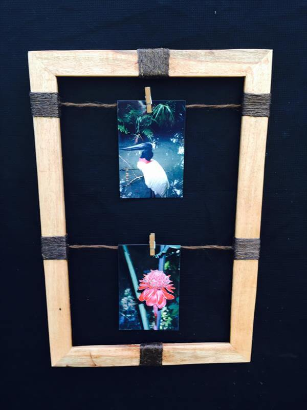wooden pallet and twine accent picture frame