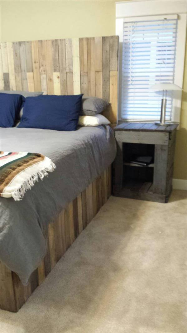 Recycled pallet bed frame and headboard