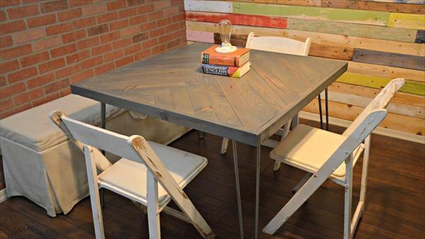 wooden pallet chevron dining table with metal base