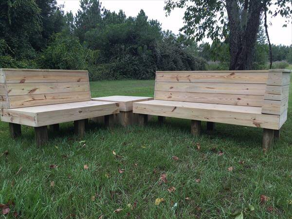 recycled pallet sectional patio set