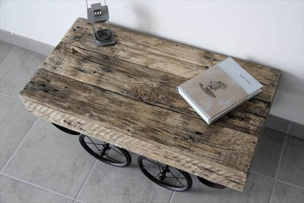 rustic pallet cart style coffee table