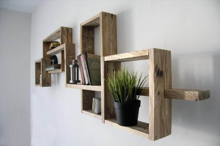 Reclaimed pallet modern wall shelf