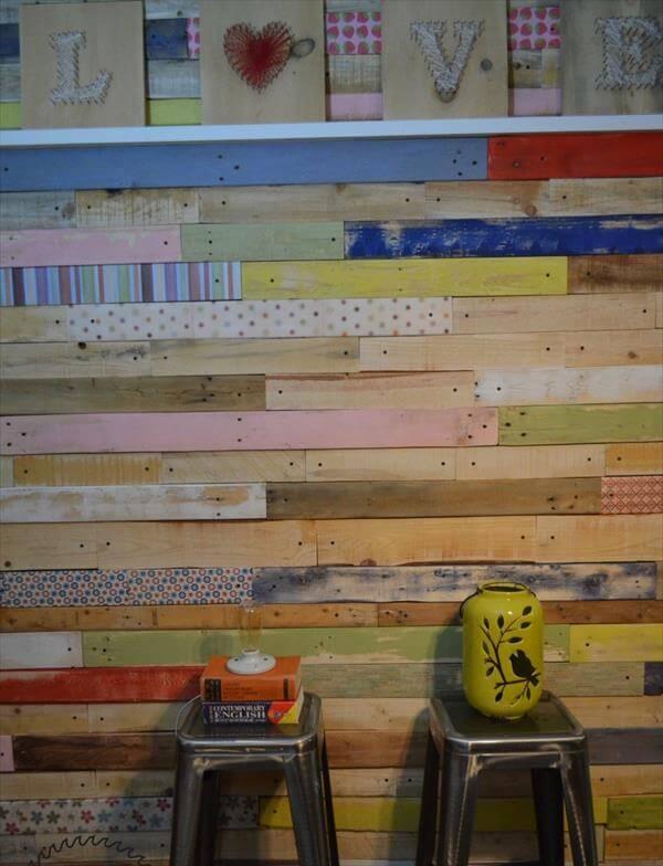 repurposed pallet wood wall