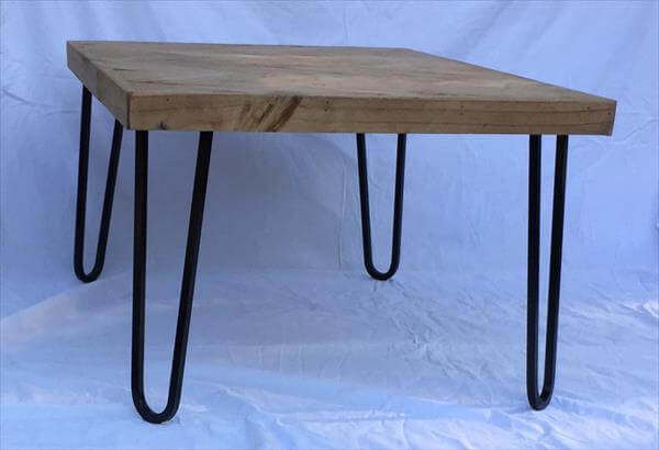 recycled pallet coffee table with metal hairpin legs