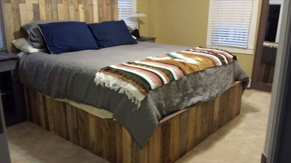 Repurposed pallet bed frame and headboard
