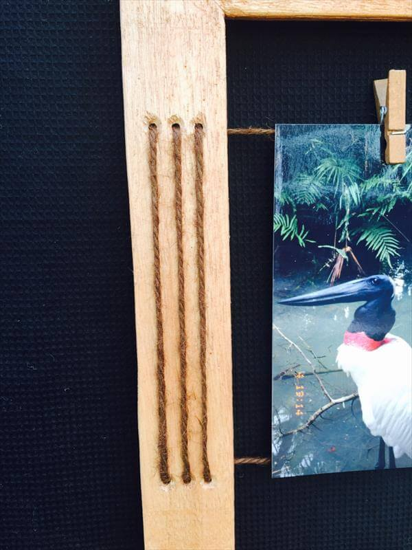 diy pallet and twine picture frame