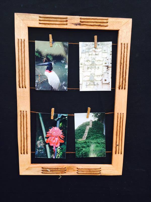 salvaged pallet and twine picture frame