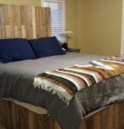 Reclaimed pallet bed frame and headboard