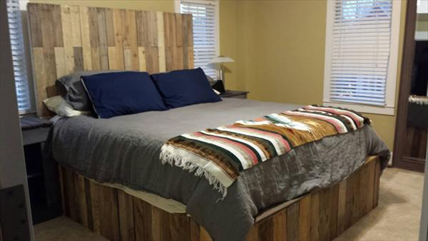 wood pallet bed frame and headboard