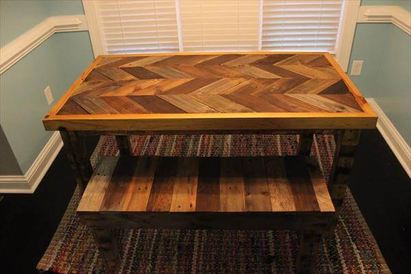 Handmade pallet chevron patterned table with a bench