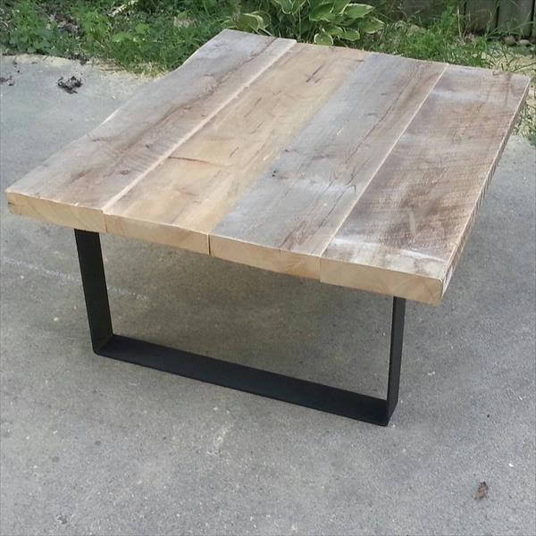 Wooden Coffee Table Metal Legs: Pallet Coffee Table With Steel Legs