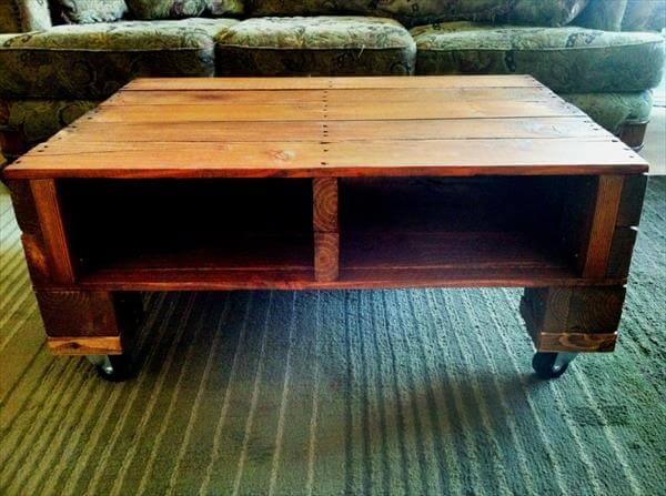 handmade wooden pallet coffee table with wheels