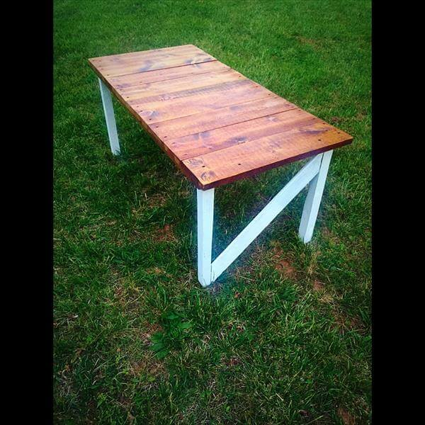 Repurposed pallet rustic coffee table