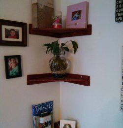 handmade wooden pallet corner shelves